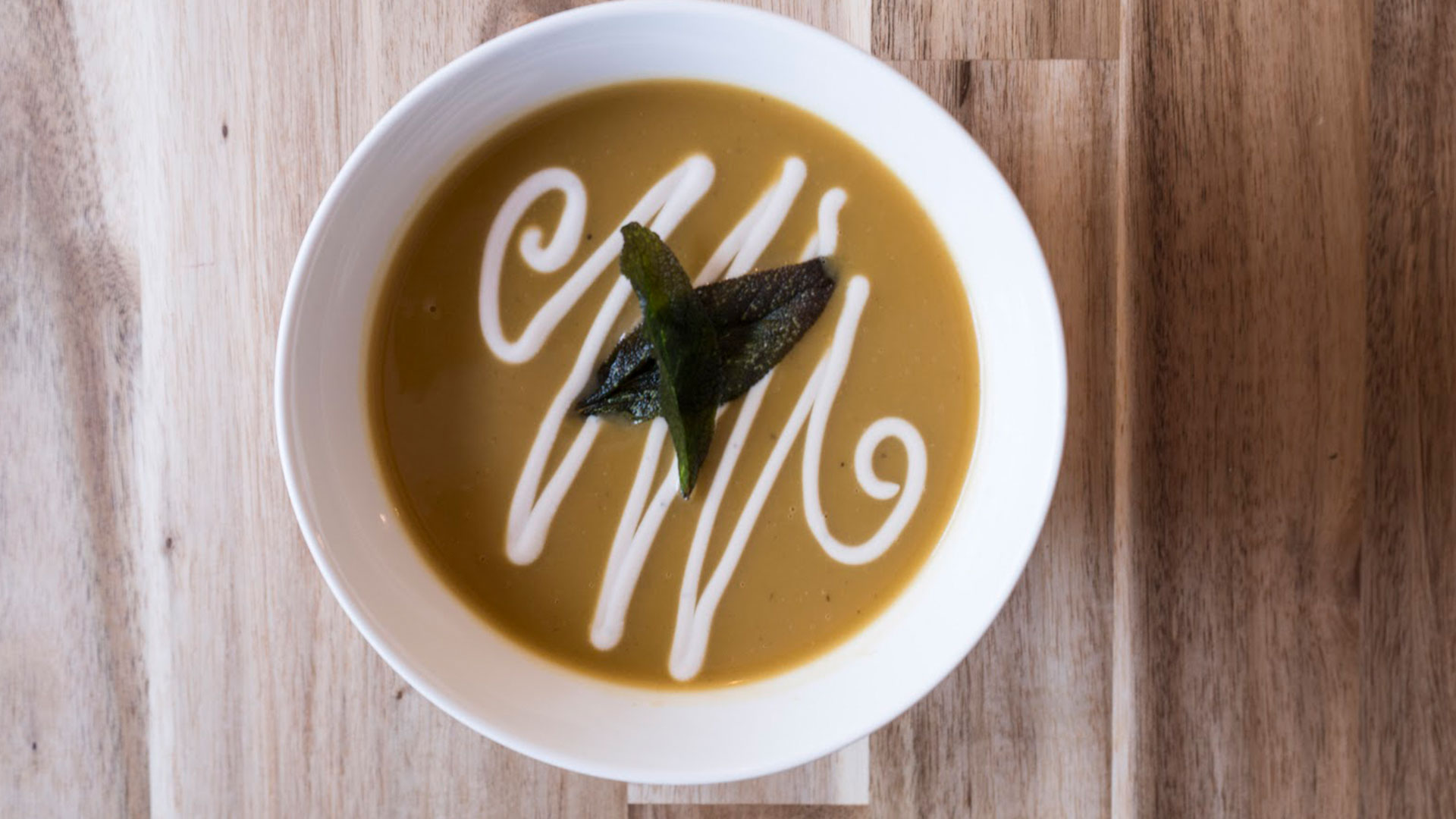 Roasted Squash & Pear Soup with Maple Sage Balsamic